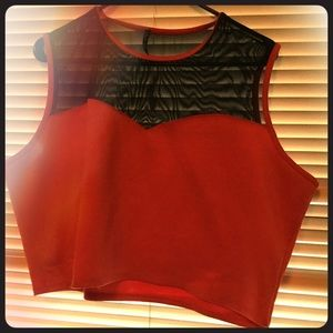 Tops - Plus size Orange crop top with sheer detail
